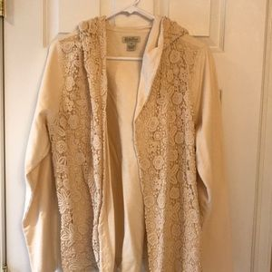 Lucky brand cream hooded cardigan w lace